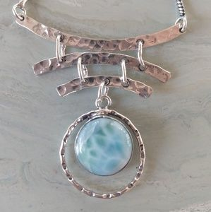 Natural Larimar hand crafted stamped 925 necklace